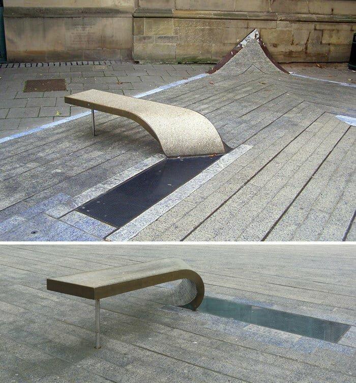 Синий ковёр в Ньюкасле, Англия в мире, в парке, красота, креатив, лавочка, скамейка, удобство, фантазия