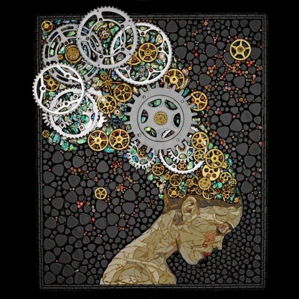 Невероятные мозаики из ключей, деталей часов