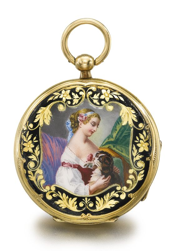 Yellow Gold And Enamel Open Faced Watch, Case Back With Polychrome Enamel Scene Depicting A Lady Holding A Spaniel, Black Enamel Border With Engraved Foliate Decoration c.1850 - Sotheby's: