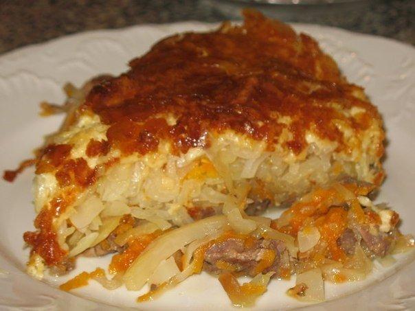 Ароматное и аппетитное мясо с корочкой под шубой из нежной капусты