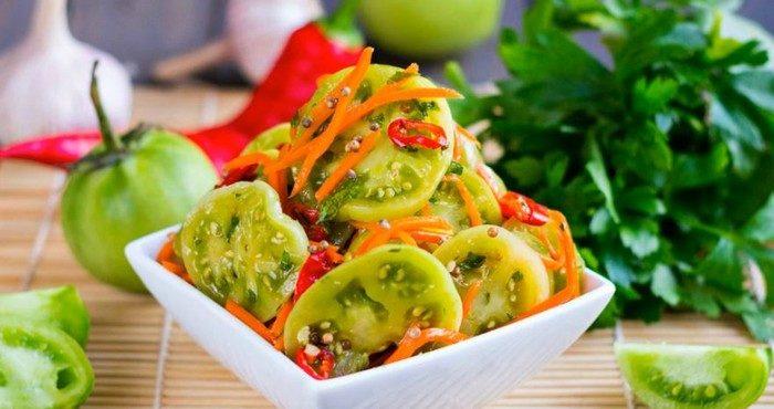 Рецепт вкусного салата по-корейски из зеленых помидоров заготовки,салаты