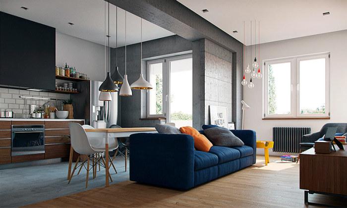 Современный дизайн квартиры-студии.