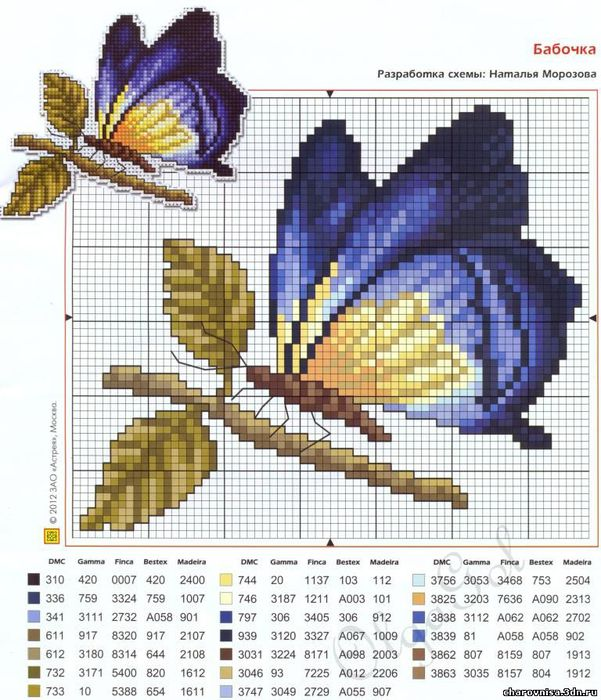 Схемы вышивки крестом мотива с бабочками