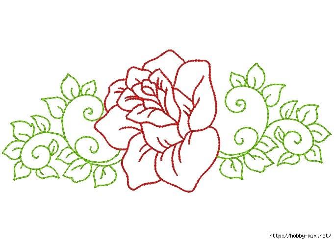 Цветочные шаблоны для вышивки ришелье — розы в разных видах
