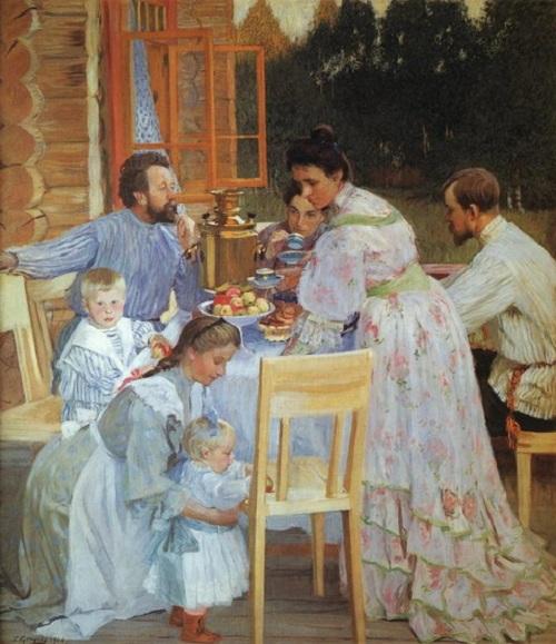 Терем. На террасе. (1906). Автор: Б.М.Кустодиев.