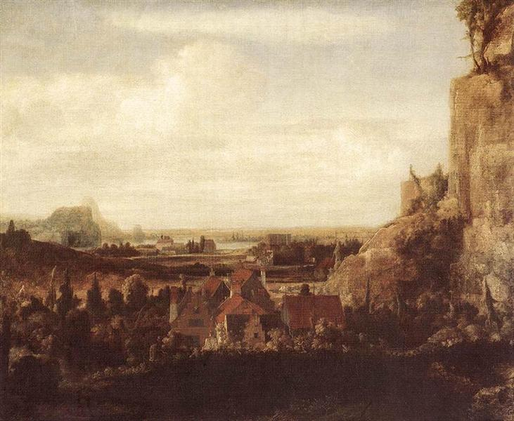 A River Valley with a Group of Houses, 1625 - Геркулес Сегерс