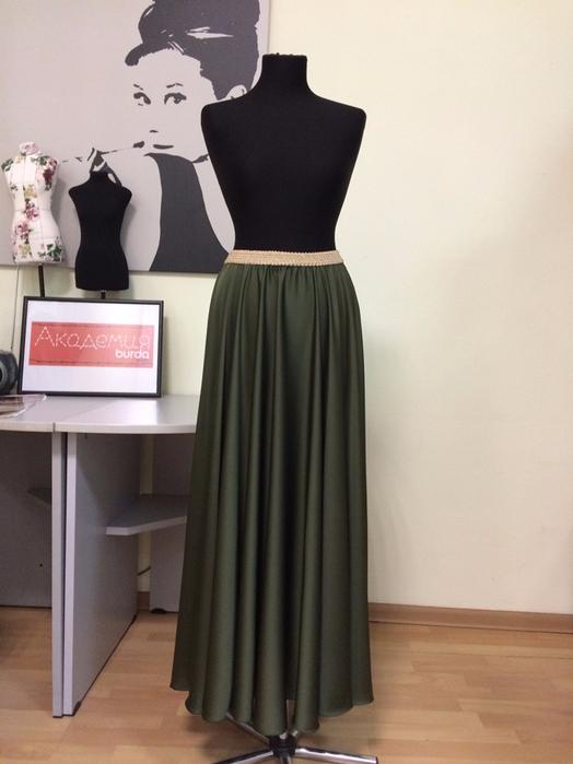 Шьем шёлковую юбку-солнце на резинке