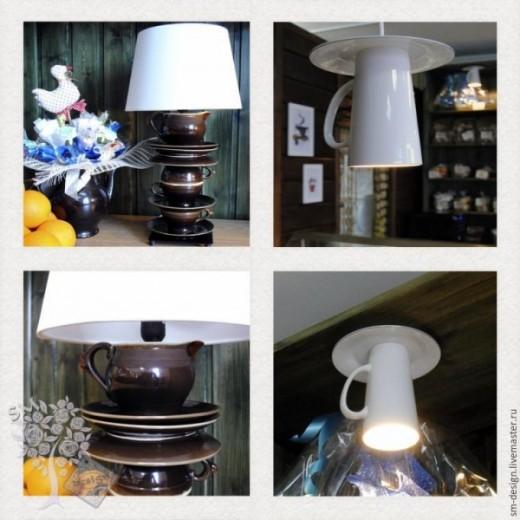Настольная лампа из чайного сервиза