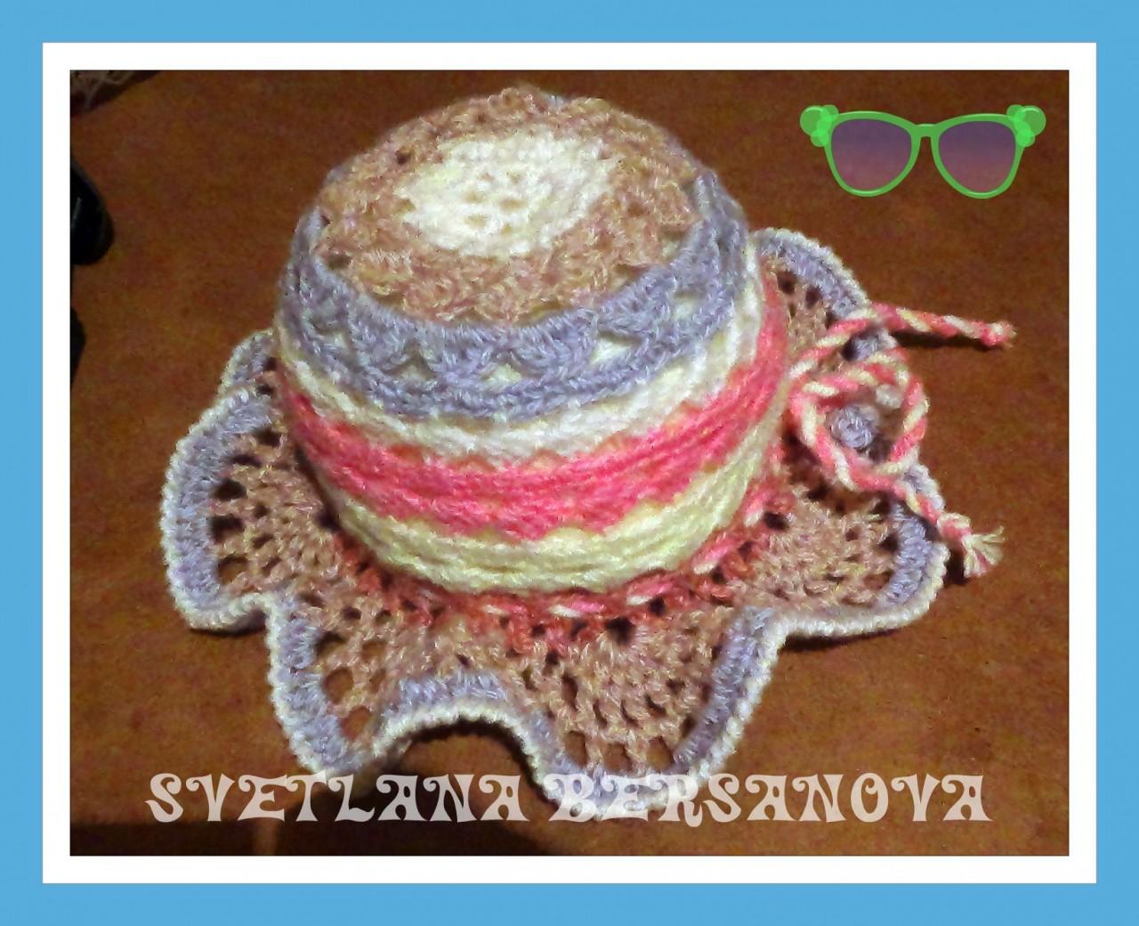 Вяжем из остатков - веселая панама на лето .Summer hat