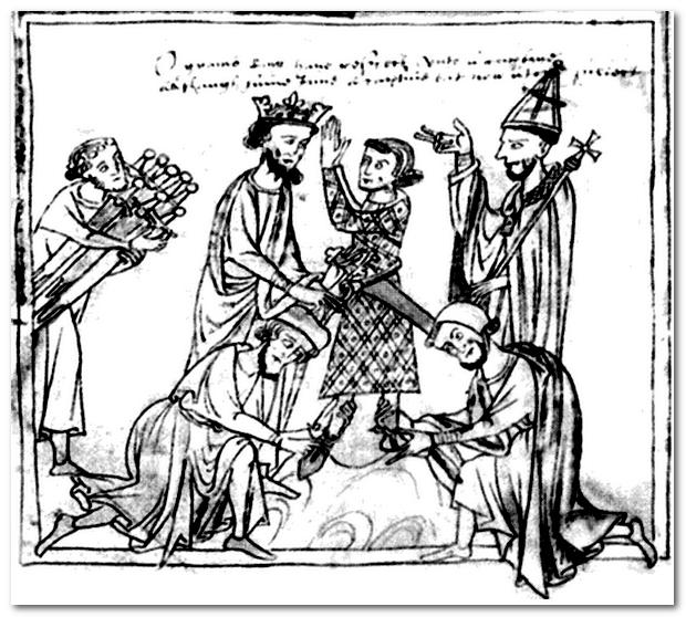 Древняя святыня Франции, на которой ее короли давали присягу,  написана буквицей и глаголицей