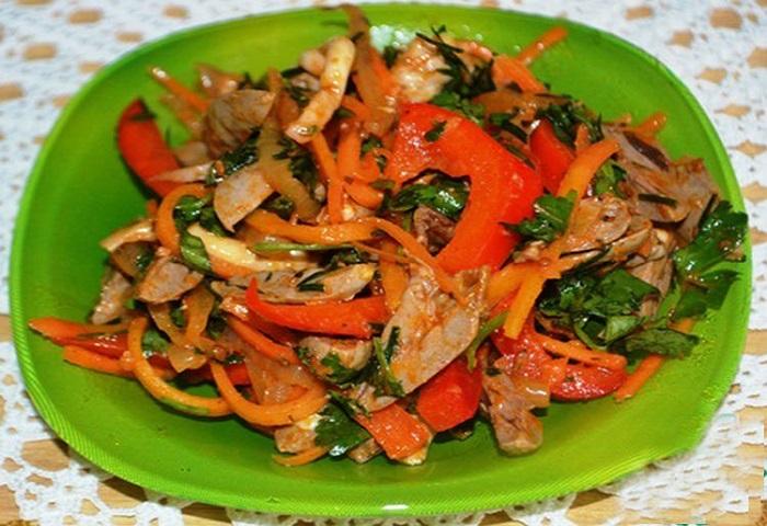 Острый салат из куриных желу…