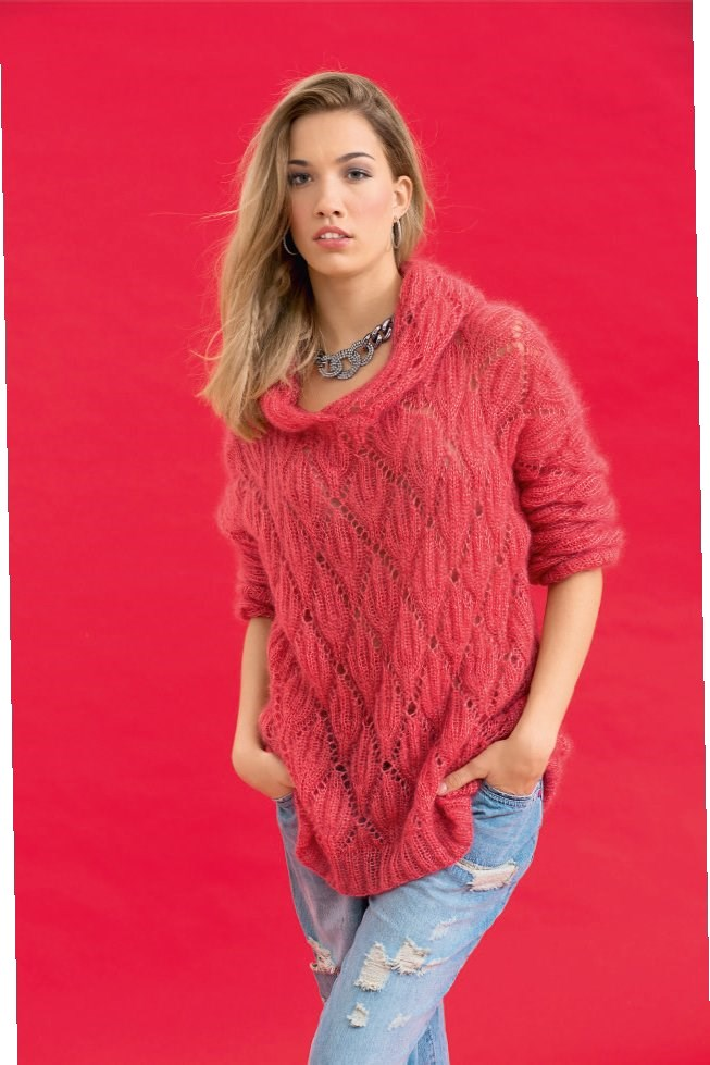 Пуловер из мохера спицами