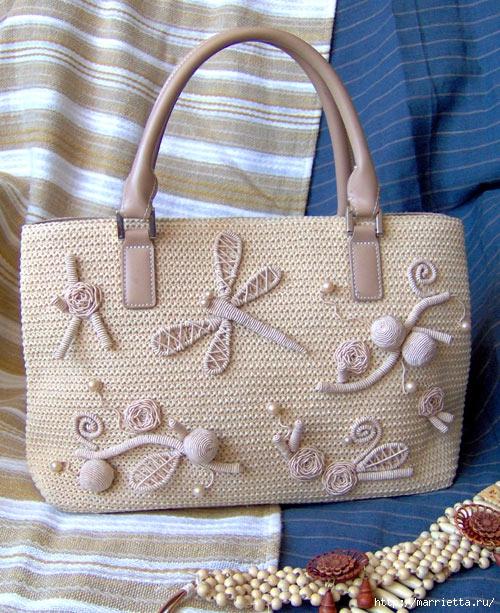 Объемная вышивка — украшаем сумки( МК)
