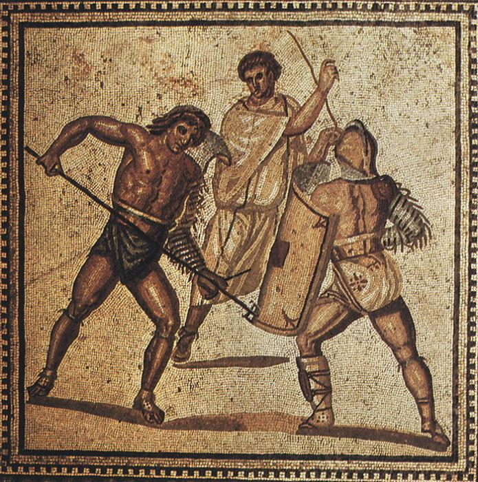 Бой гладиаторов. Римская мозаика