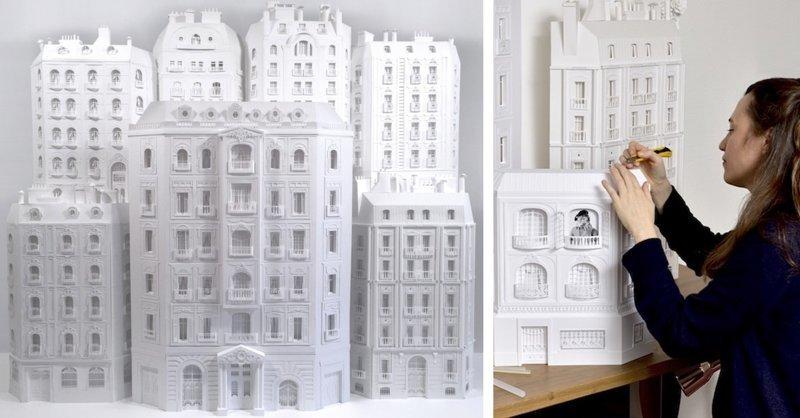Архитектор строит из бумаги парижские мансарды