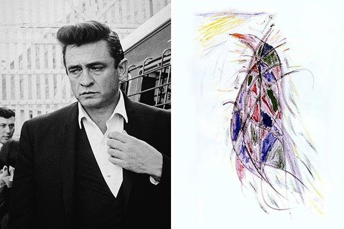 Джонни Кэш живопись, звезды, знаменитости, кино, многогранный талант, неожиданное увлечение, художники, эстрада