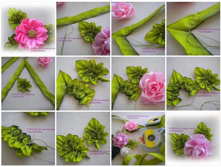 Прекрасные цветы из лент и вышивка лентами 0