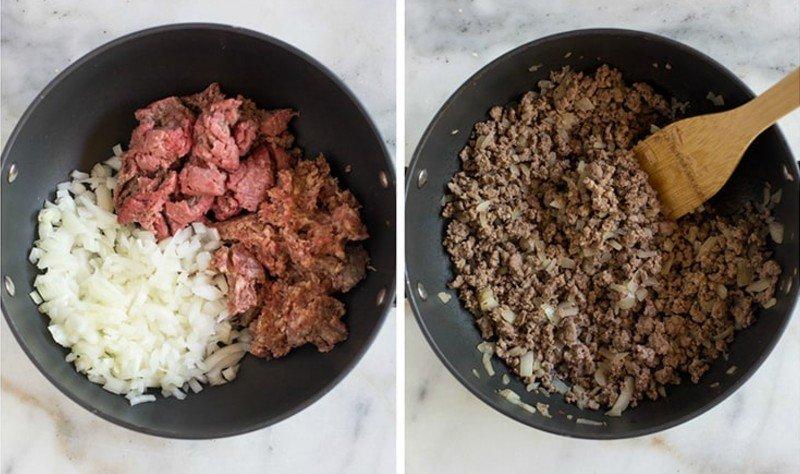 Мясной фарш с соусом маринара блюда из фарша,соусы