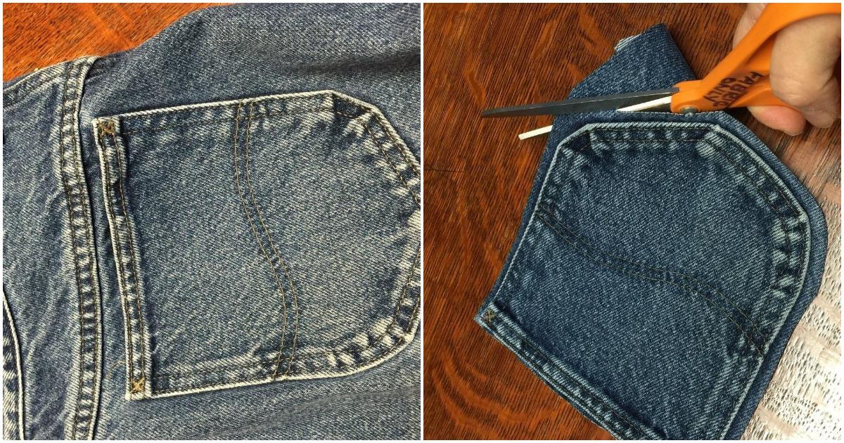 С помощью карманов от старых джинс можно сделать необычный аксессуар