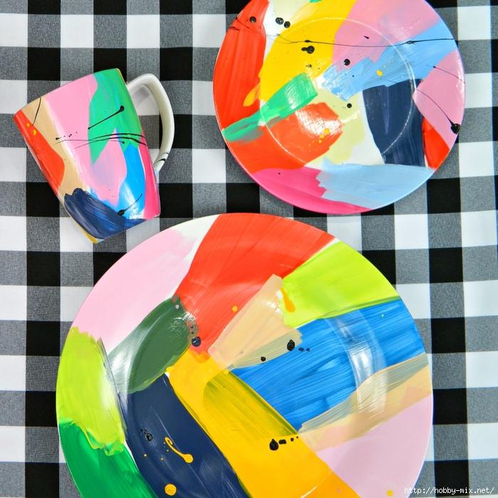 Роспись посуды.... ярко модно молодежно)))))
