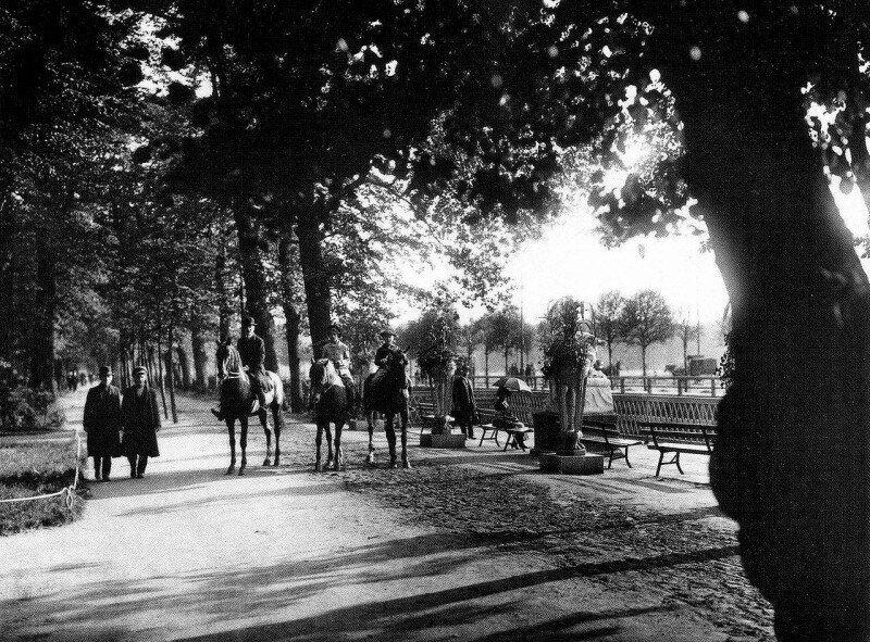 Конные прогулки в Летнем саду, Санкт-Петербург, 1900 год. история, ретро, фото