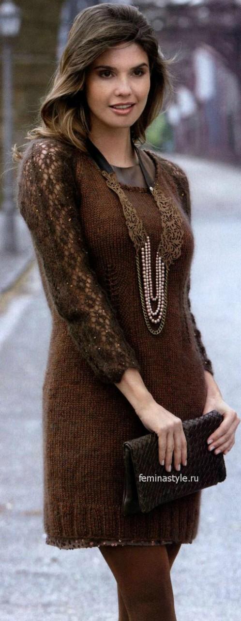 Мини-платье с ажурным узором