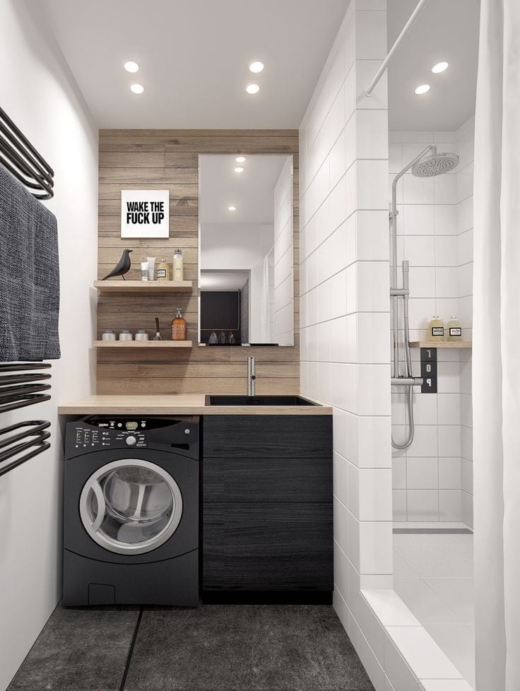 Красивый дизайн маленькой ванной в современном стиле