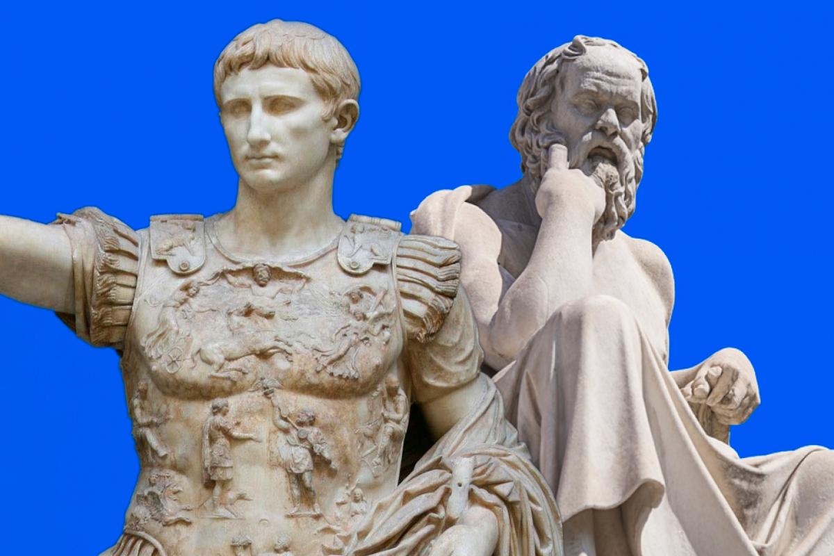 Слева: Гай Юлий Цезарь Октавиан Август — древнеримский государственный и политический деятель. Справа: Сократ — древнегреческий философ.