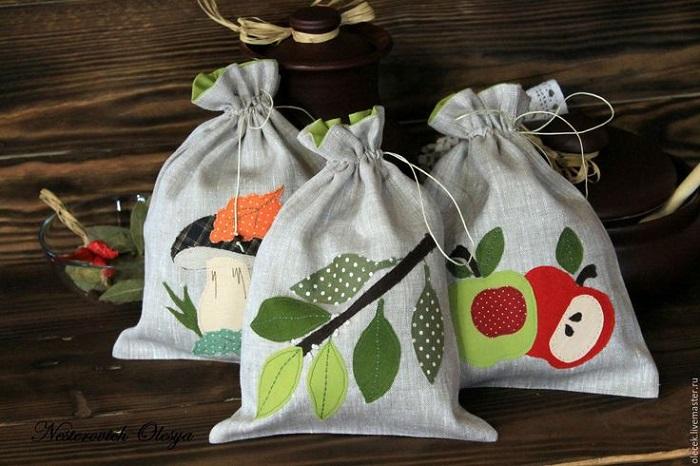 Самодельные мешочки для хранения. / Фото: Pinterest.nz