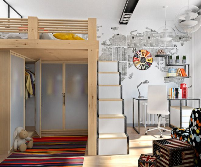 дизайн детской спальни шкафы