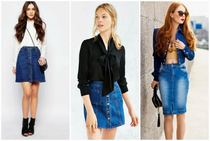 Стильные джинсовые юбочки.