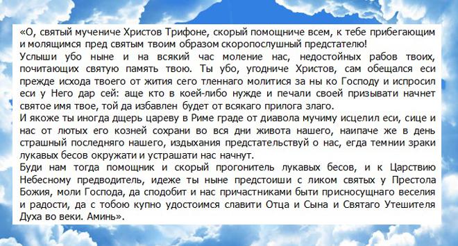 святой трифон молитва о жилье