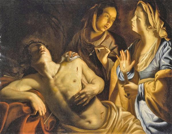 """""""Святая �рина, ухаживающая за святым Себастьяном"""", 1630-е , 101×127.5 см"""
