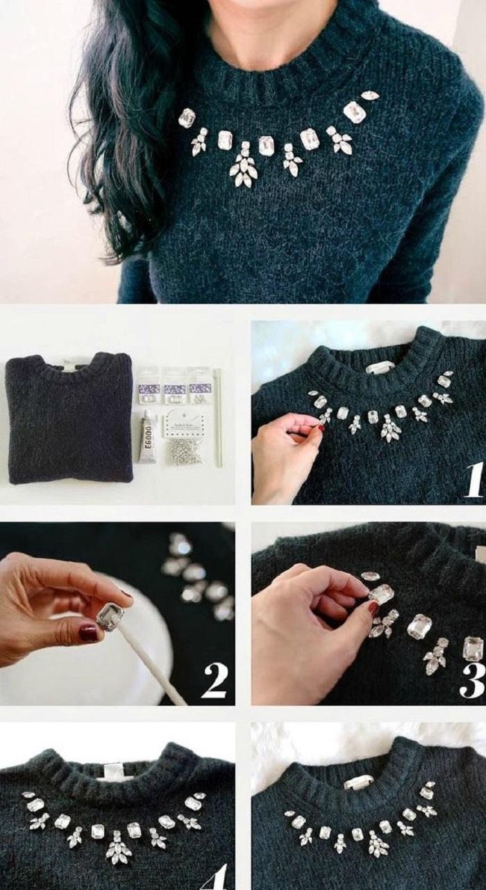 Как украсить старый свитер своими руками фото