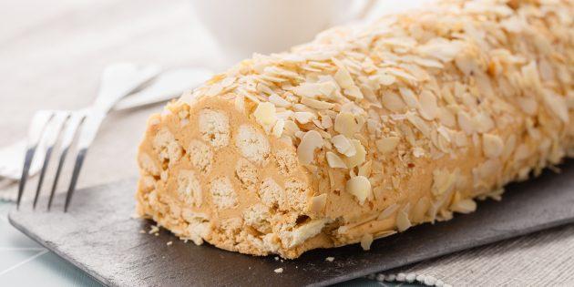 Торт «Полено» из слоёного теста со сгущёнкой: простой рецепт