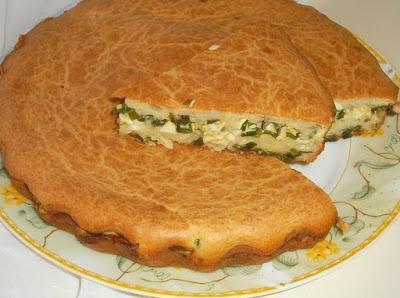 Заливной пирог с зелёным лук…