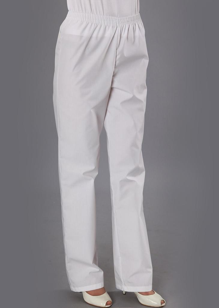 Готовые белые женские брюки на резинке на девушке
