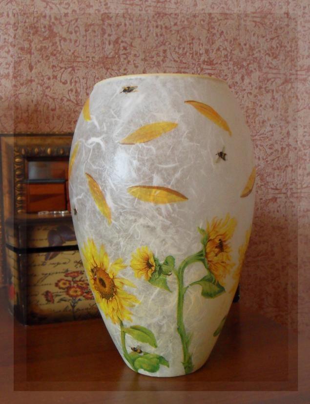 Декупаж стеклянной вазы