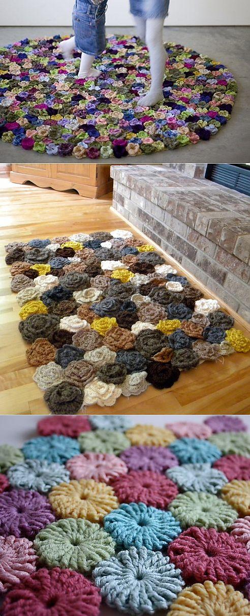 Цветочные коврики крючком. Идеи, мастер-классы.