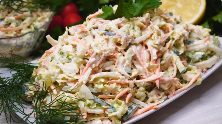 Рецепт прекрасного салата с капустой и печени трески