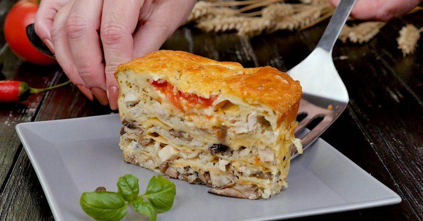 Ленивый пирог из лаваша с грибами и курицей выпечка,закуски