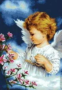 """Авторская схема для вышивки бисером """"Ангел с цветущей ветвью"""""""