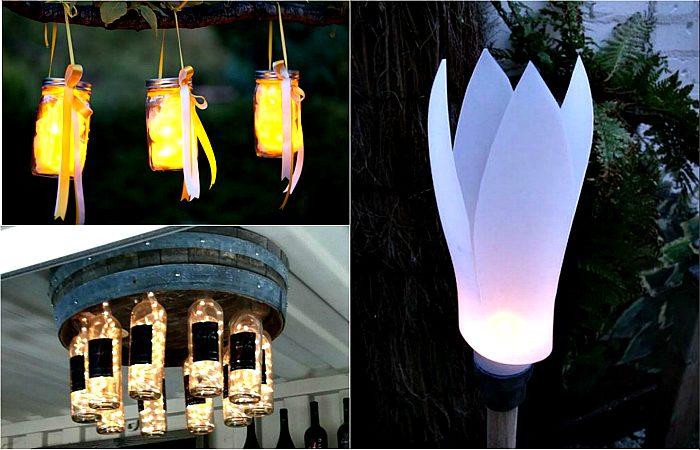 как сделать садовые светильники своими руками фото