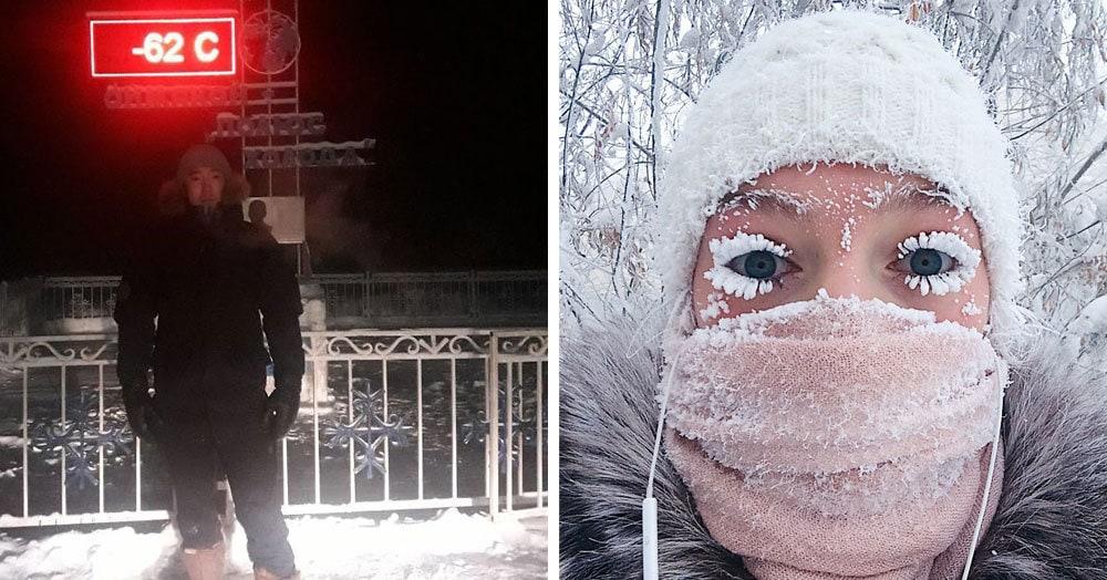 В Оймяконе так холодно, что электронный градусник не выдержал и сломался при температуре -62 °C, и глядя на эти фото его можно понять