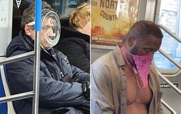 20 пассажиров метро в нелепых масках, сделанных из трусов, вёдер, подорожника и других неподходящих вещей