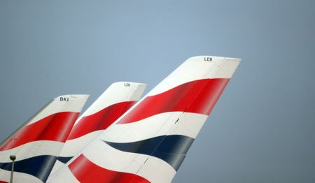 British Airways logos are seen on tail fins at Heathrow Airport in west London, Britain, February 23, 2018. REUTERS/Hannah McKay/File Photo