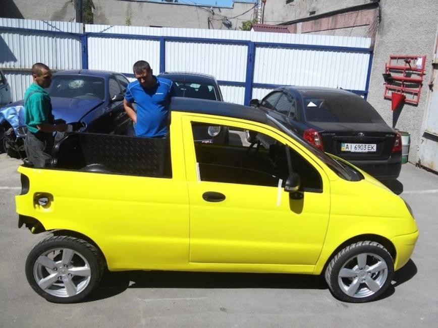 В России превратили Daewoo Matiz в забавный желтый пикап