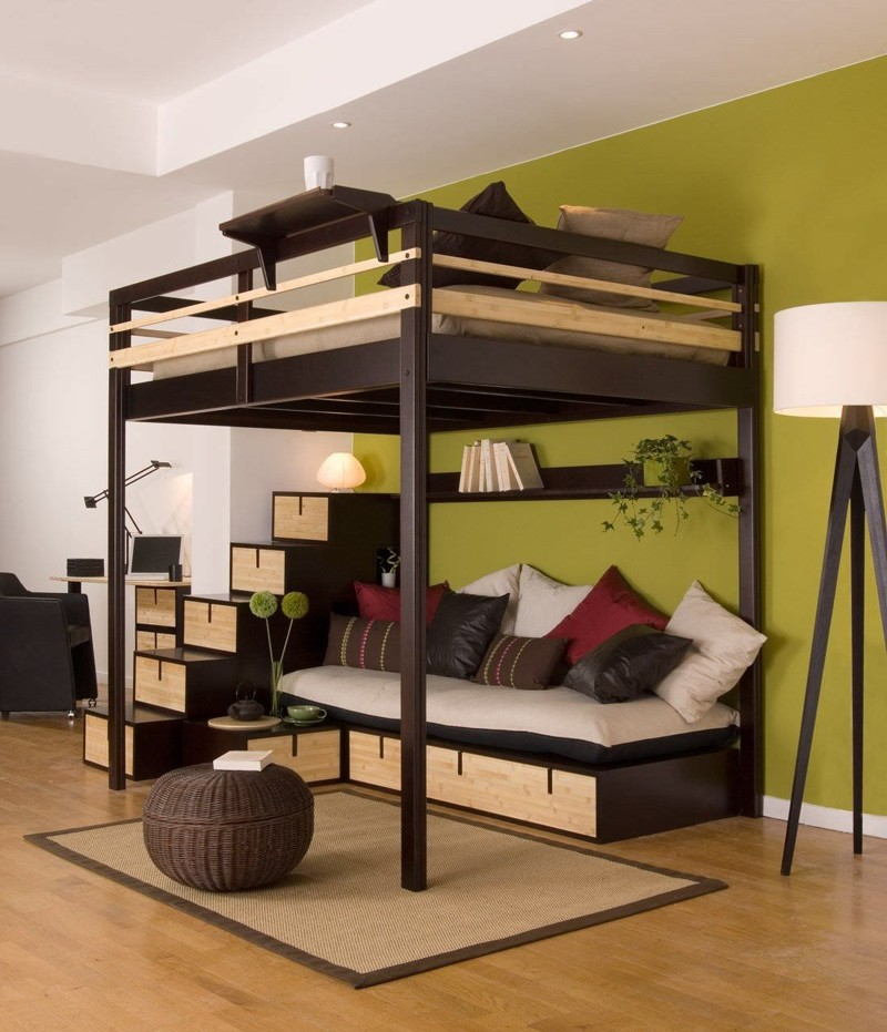 Или зону отдыха, например двухъярусная кровать, дизайн, идеи, маленькая квартира