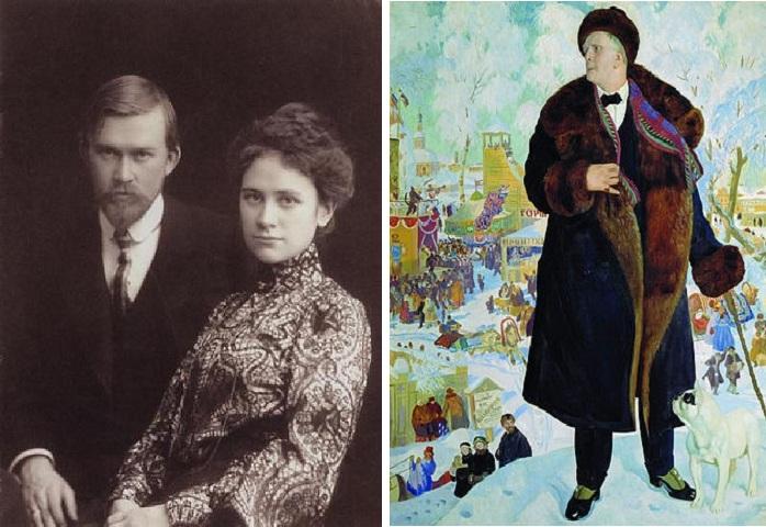 Б.М.Кустодиев с женой / Портрет Ф.И. Шаляпина (1921)