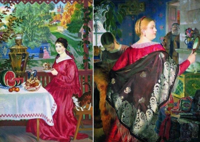 Б. Кустодиев. Слева – *Купчиха на балконе*, 1920. Справа – *Купчиха с зеркалом*, 1920